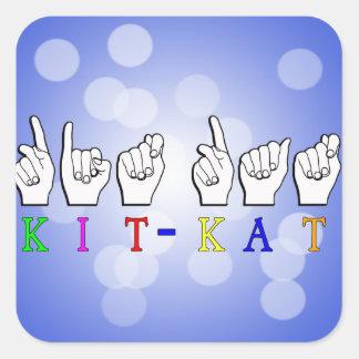 KIT-KAT ASL FINGERSPELLED ASL NICKNAME SQUARE STICKER