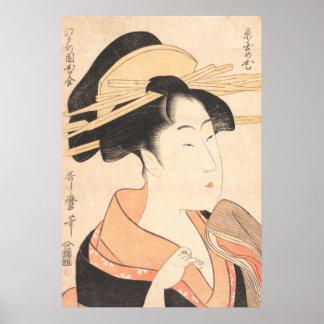 Kitagawa Utamaro Azumaya no Hana japanese lady art Poster