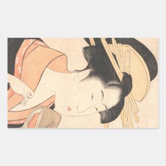 Kitagawa Utamaro Azumaya no Hana japanese lady art Rectangular Sticker