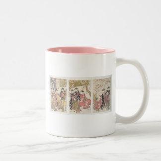 Kitagawa Utamaro cherry blossoms pink spring petal Two-Tone Coffee Mug