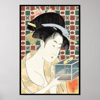 Kitagawa Utamaro Insect Cage japanese beauty lady Print