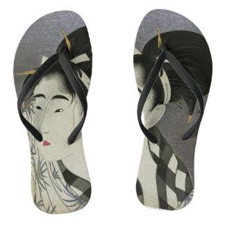 Kitagawa Utamaro's Ase O Fuku Onna art sandals Flip Flops