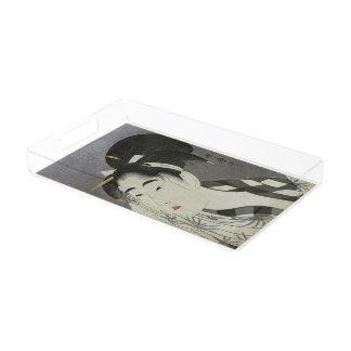 Kitagawa Utamaro's Ase O Fuku Onna art trays