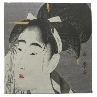 Kitagawa Utamaro's Ase O Fuku Onna cloth napkins