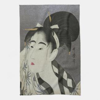Kitagawa Utamaro's Ase O Fuku Onna hand towel
