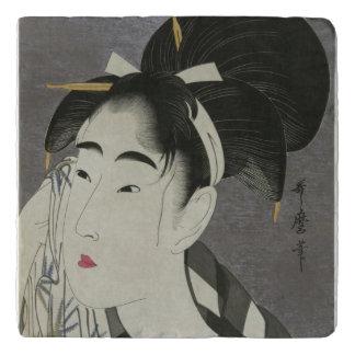 Kitagawa Utamaro's Ase O Fuku Onna stone trivets