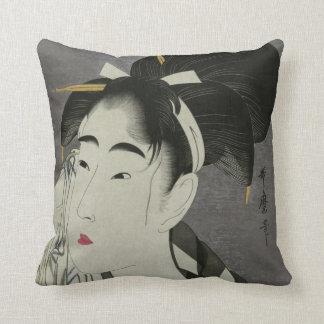Kitagawa Utamaro's Ase O Fuku Onna throw pillow