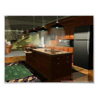 Kitchen and Living Room Interior Poster