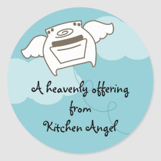 kitchen angel flying oven stove cooking baking ... classic round sticker