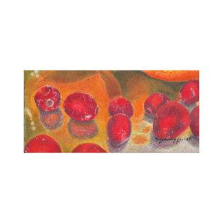 Kitchen art canvas, cranberries and oranges stretched canvas print
