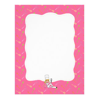 Kitchen Art Recipe Pages Sheets with Border Letterhead