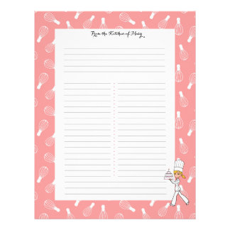 Kitchen Art Recipe Sheets with Your Name Letterhead