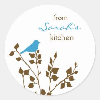 Kitchen Baking Canning Cute Aqua Brown Bird Classic Round Sticker