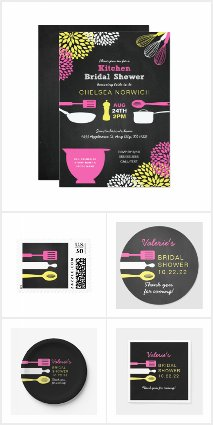 Kitchen Bridal Shower collection - pink yellow
