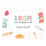 Kitchen  Bridal Shower Recipe Cooking Mint Pink Postcard