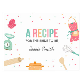Kitchen  Bridal Shower Recipe Cooking Mint Pink Postcard