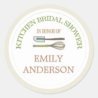 Kitchen Bridal Shower Round Sticker