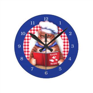 Kitchen Cat Round Clock