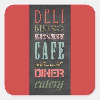 kitchen-chalkboard KITCHEN RESTAURANT DELI CAFE BI Square Sticker