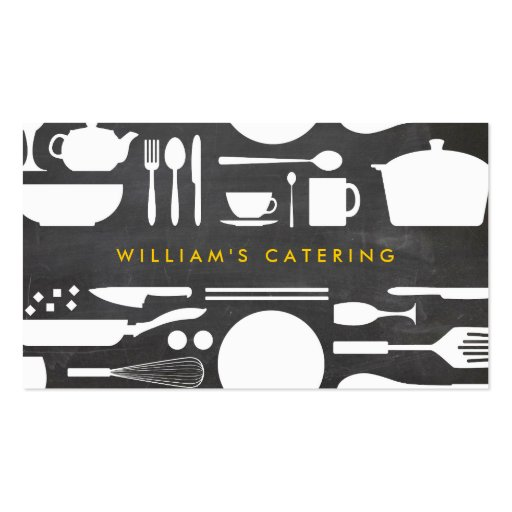 Kitchen Collage on Chalkboard Background Double-sided Standard Business Cards (pack Of 100)