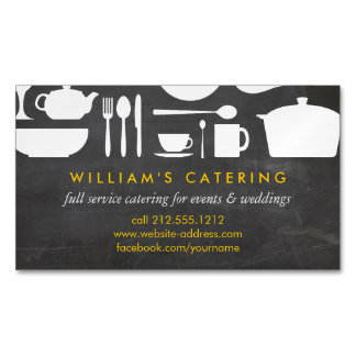 Kitchen Collage on Chalkboard Magnetic Magnetic Business Card