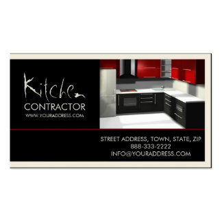 Kitchen Contractor Cabinetry White Black Card Business Card