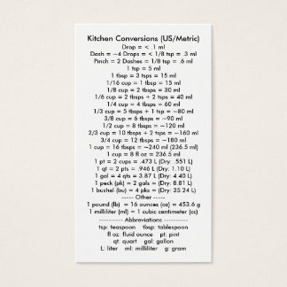 Kitchen Conversions I (US/Metric) Business Card