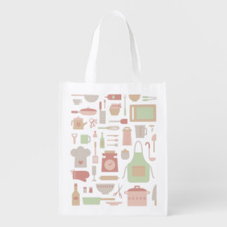 Kitchen Cooking Accessories and Utensils Pattern Grocery Bag