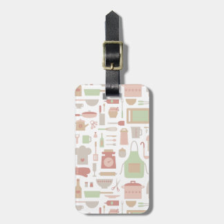 Kitchen Cooking Accessories and Utensils Pattern Luggage Tag