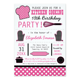 Kitchen Cooking Birthday Party 5x7 Paper Invitation Card