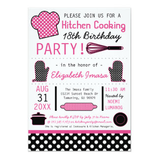 Kitchen Cooking Birthday Party Card