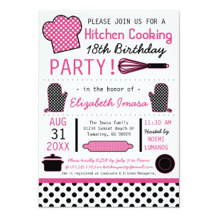 Kitchen party invitations announcements zazzle kitchen cooking birthday party card stopboris Image collections