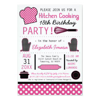 """Kitchen Cooking Birthday Party 5"""" X 7"""" Invitation Card"""