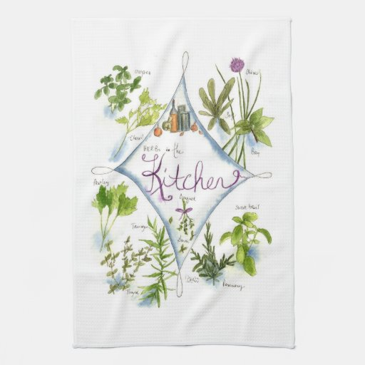 Kitchen Cooking Herbs Watercolor Illustration Art Hand