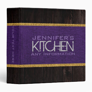 Kitchen Cooking Purple Burlap Rustic Wood Look 3 Ring Binder