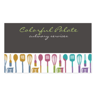 kitchen cooking utensils chef culinary biz cards Double-Sided standard business cards (Pack of 100)
