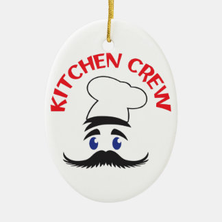 KITCHEN CREW Double-Sided OVAL CERAMIC CHRISTMAS ORNAMENT