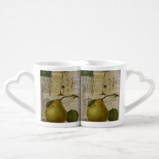 kitchen decor vintage botanical print pears coffee mug set