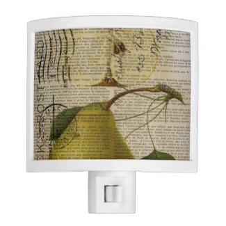 kitchen decor vintage botanical print pears night light