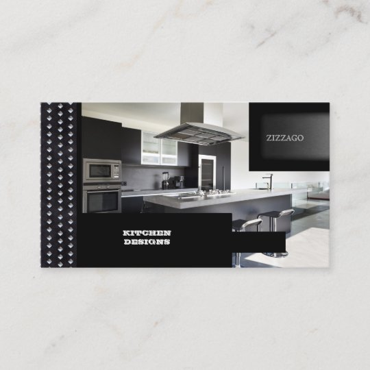 Kitchen Designs Black Metal Business Card Zazzle Com