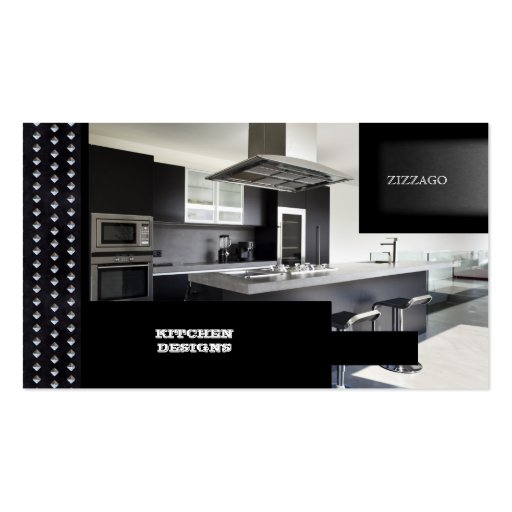 KITCHEN Designs Black Metal Business Card Templates