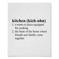 Kitchen Dictionary Definition Meaning Typographic Poster