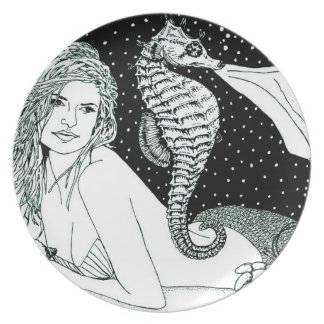 "Kitchen / Dining Room Plate ""SeaHorse Sirena"""