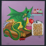 "Kitchen Dragon Cloth Napkin<br><div class=""desc"">A small green dragon sits on a wooden cutting board on a kitchen counter top. Baked goods are all around. Cookies,  muffins,  cupcakes and cherries.</div>"