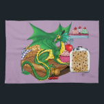"Kitchen Dragon Hand Towel<br><div class=""desc"">A small green dragon sits on a wooden cutting board on a kitchen counter top. Baked goods are all around. Cookies,  muffins,  cupcakes and cherries.</div>"