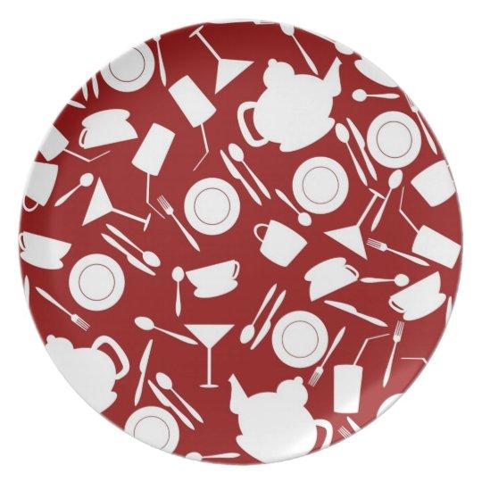 Kitchen Elements Pattern Melamine Plate