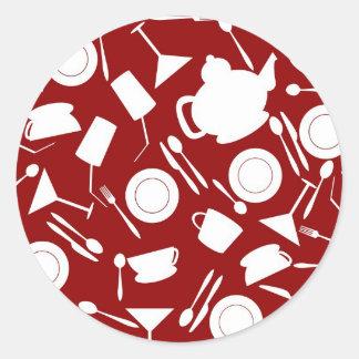 Kitchen Elements Pattern Round Stickers