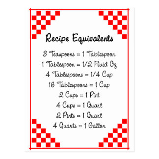 Kitchen Equivalents Red Checked Recipe Card