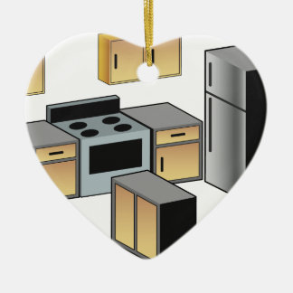 Kitchen Furniture and Appliances Double-Sided Heart Ceramic Christmas Ornament