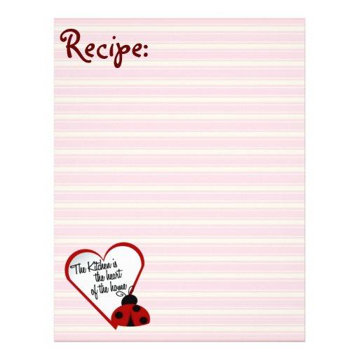 Kitchen Heart of Home Ladybug Recipe Paper Letterhead